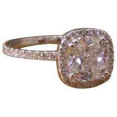 1 1/2 Carat 14 Karat White Gold Cushion Diamond Engagement Ring, Halo Ring