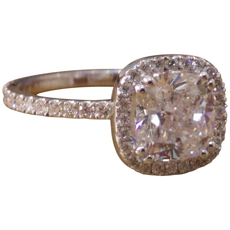 1 1/2 Carat 14 Karat White Gold Cushion Diamond Ring, Diamond Halo Ring