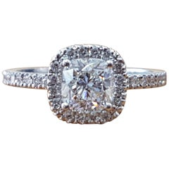 1 1/2 Carat 14 Karat White Gold Cushion Engagement Ring, Halo Diamond Ring