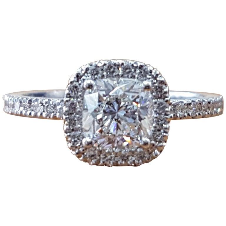 1 1/2 Carat 14 Karat White Gold Cushion Engagement Ring, Halo Diamond Ring For Sale
