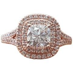 1 1/2 Carat 14 Karat White Gold Diamond Cushion Engagement Ring