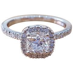 1 1/2 Carat 14 Karat White Gold Diamond Ring, Cushion Engagement Ring