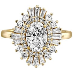 1 1/2 Carat 14 Karat White Gold Oval Diamond Engagement Ring, Gatsby Ring
