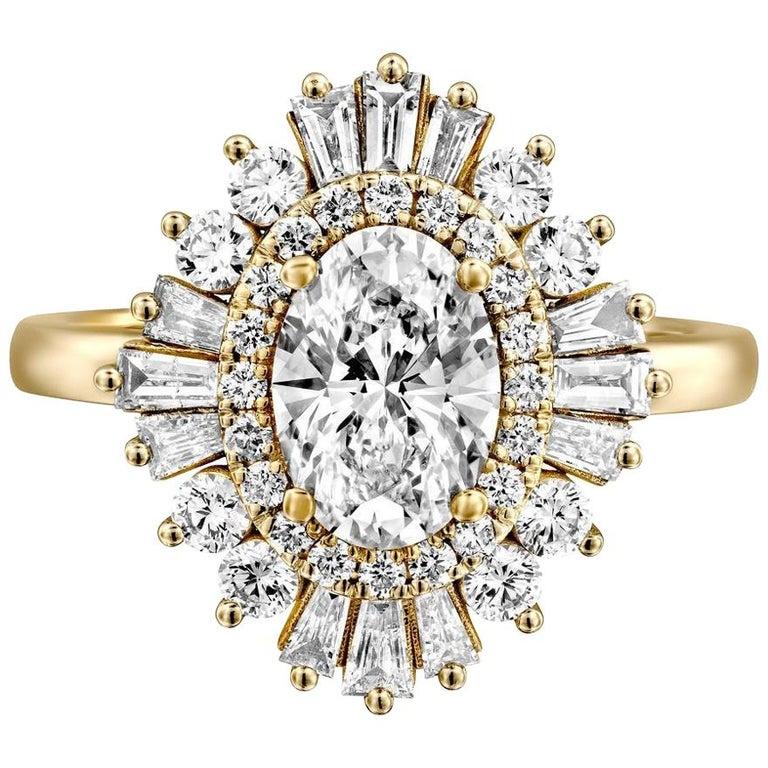 1 1/2 Carat 14 Karat White Gold Oval Diamond Engagement Ring, Gatsby Ring For Sale