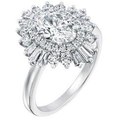 1 1/2 Carat 14 Karat White Gold Oval Diamond Ring, Gatsby Style Engagement Ring
