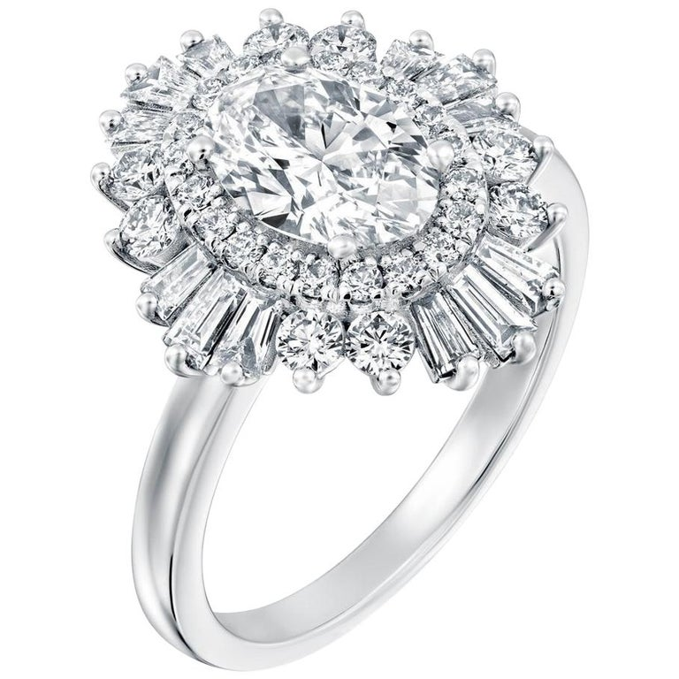 1 1/2 Carat 14 Karat White Gold Oval Diamond Ring, Gatsby Style Engagement Ring For Sale