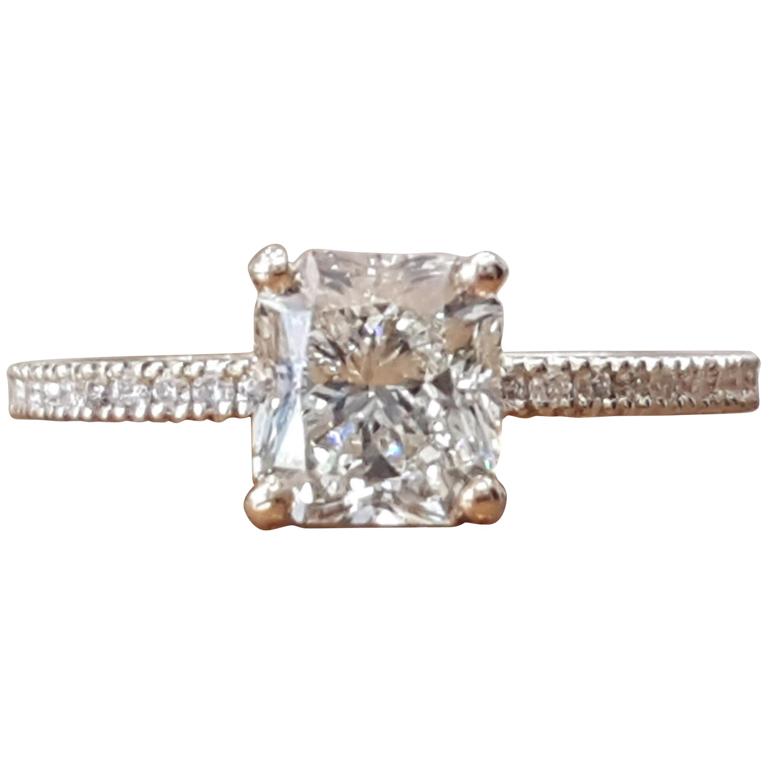 1 1/2 Carat 14 Karat White Gold Radiant Diamond Ring, Classic Style Ring
