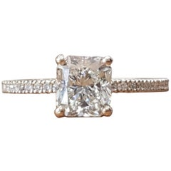 1 1/2 Carat 14 Karat White Gold Radiant Diamond Ring, Classic Style Ring