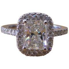 1 1/2 Carat 14 Karat White Radiant Diamond Engagement Ring, Art Deco Ring
