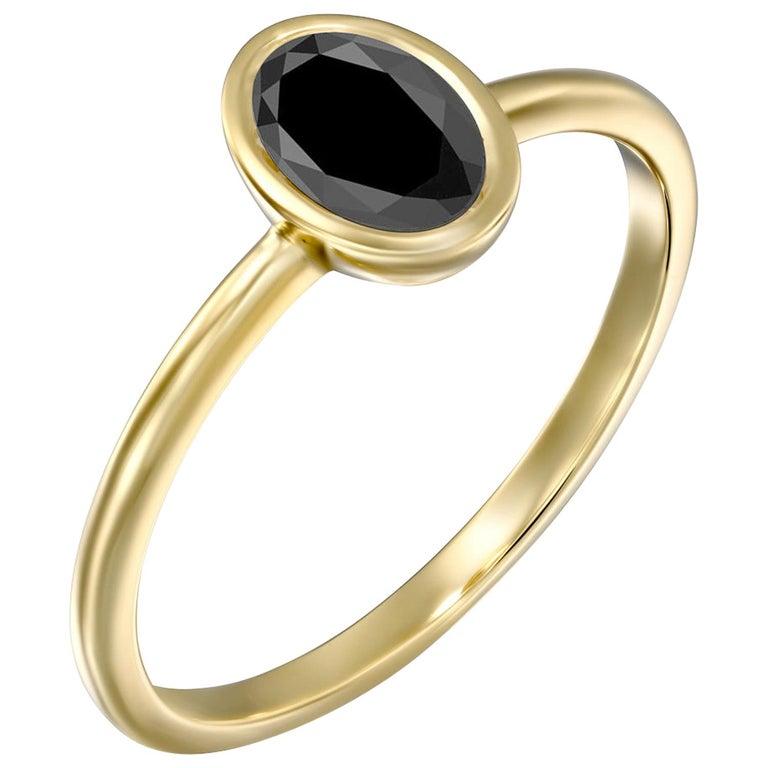 1 1/2 Carat 14 Karat Yellow Gold Certified Oval Black Diamond Engagement Ring For Sale