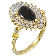 1 1/2 Carat 14 Karat Yellow Gold Certified Pear Black Diamond Engagement Ring