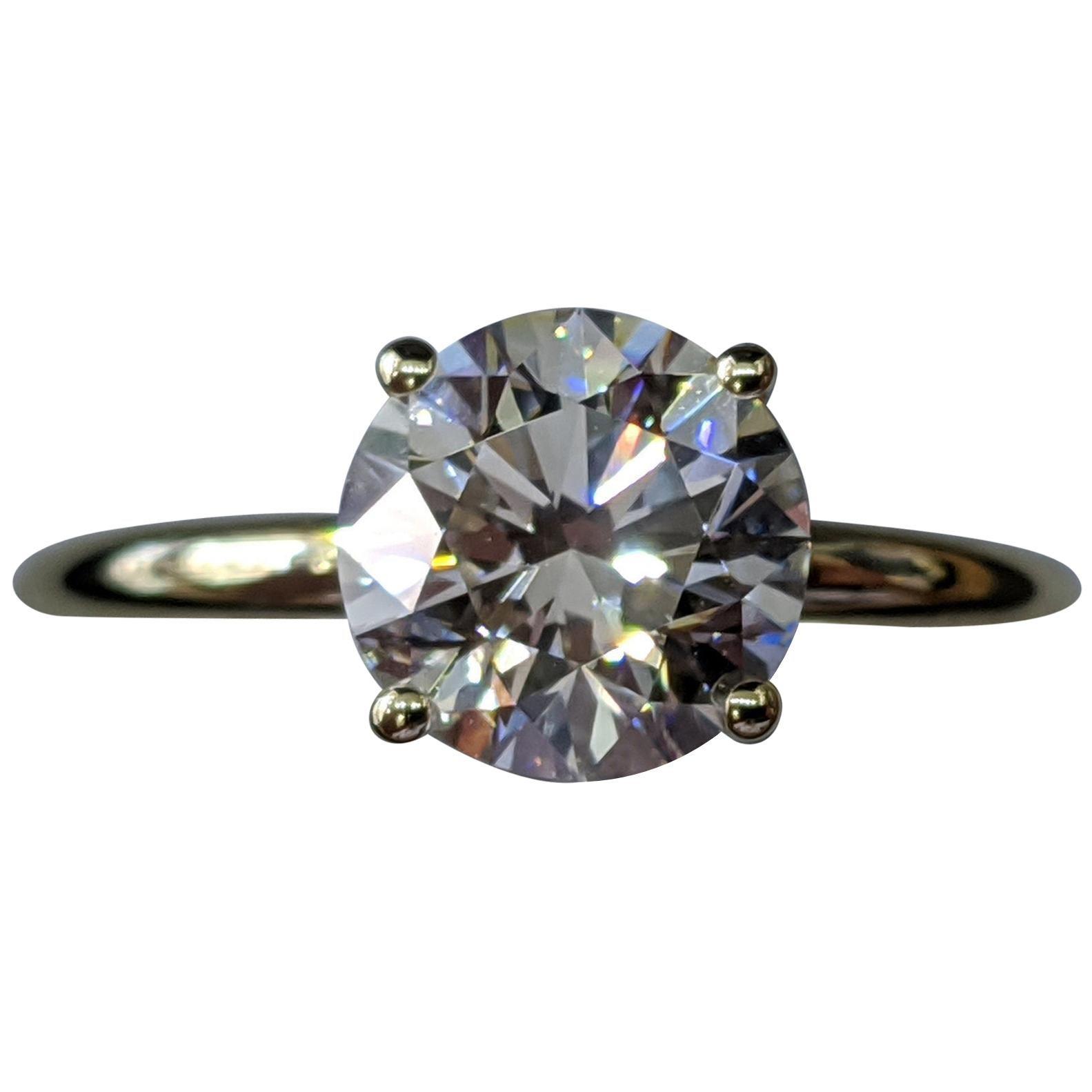 1 1/2 Carat 14 Karat Yellow Gold Round Diamond Engagement Ring