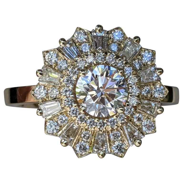 1 1/2 Carat 14 Karat Yellow Gold Vintage Round Diamond Ring, Gatsby Halo Ring For Sale