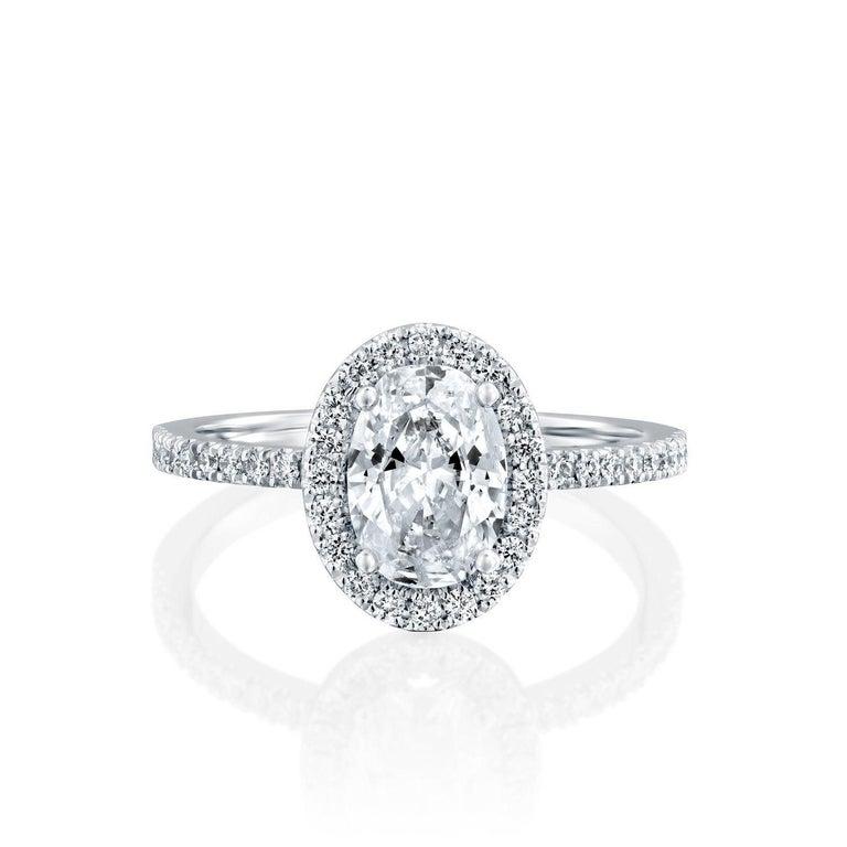 Art Deco 1 1/2 Carat 14 Karat Rose Gold Oval Engagement Ring, Oval Halo Diamond Ring For Sale