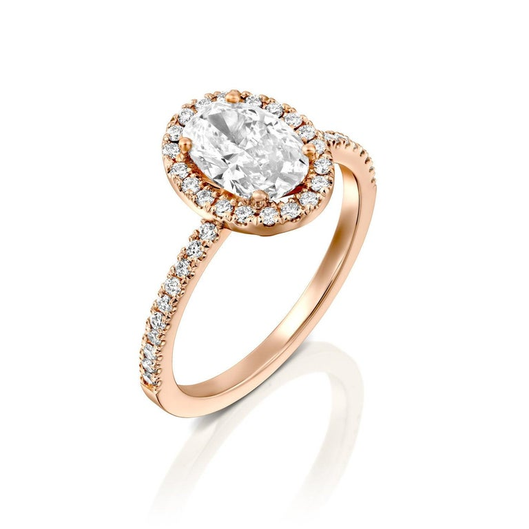 Oval Cut 1 1/2 Carat 14 Karat Rose Gold Oval Engagement Ring, Oval Halo Diamond Ring For Sale