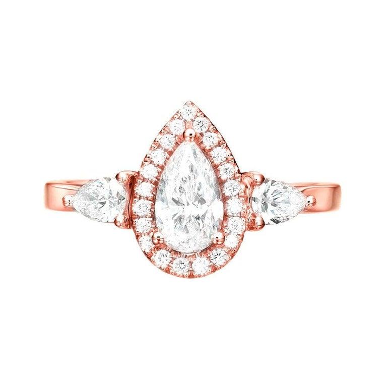 Art Deco 1 1/2 Carat 14 Karat Rose Gold Pear Diamond Engagement Ring, Diamond Halo Ring For Sale