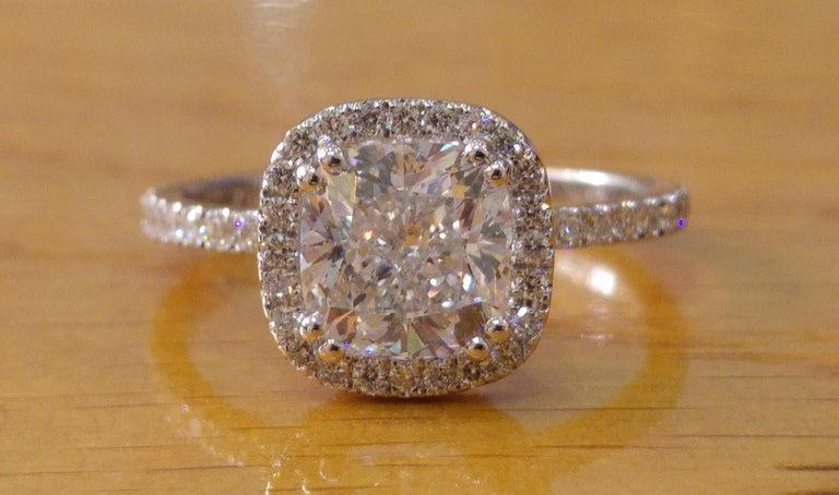 Cushion 1 1/2 Carat Diamond Engagement Ring, Halo Engagement Ring, Cushion Cut Art Deco Ring , Platinum Cushion Diamond Halo Platinum Ring    Main Stone Name: Diamond  Main Stone Weight: 1.0 ct.  Main Stone Clarity: SI1  Main Stone Color: F  Main