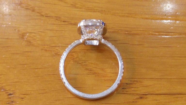 Art Deco 1 1/2 Carat 14 Karat White Gold Cushion Diamond Ring, Diamond Halo Ring