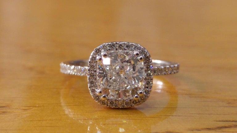 Cushion Cut 1 1/2 Carat 14 Karat White Gold Cushion Diamond Ring, Diamond Halo Ring