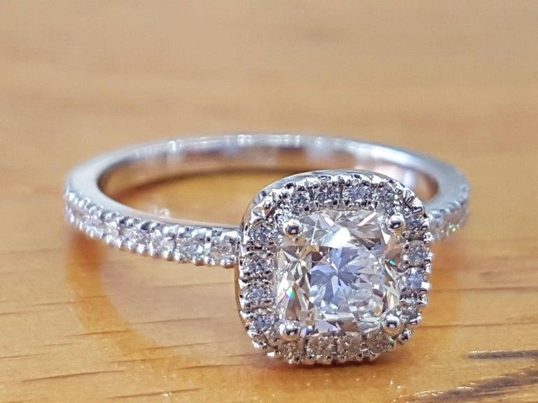 Art Deco 1 1/2 Carat 14 Karat White Gold Cushion Engagement Ring, Halo Diamond Ring For Sale