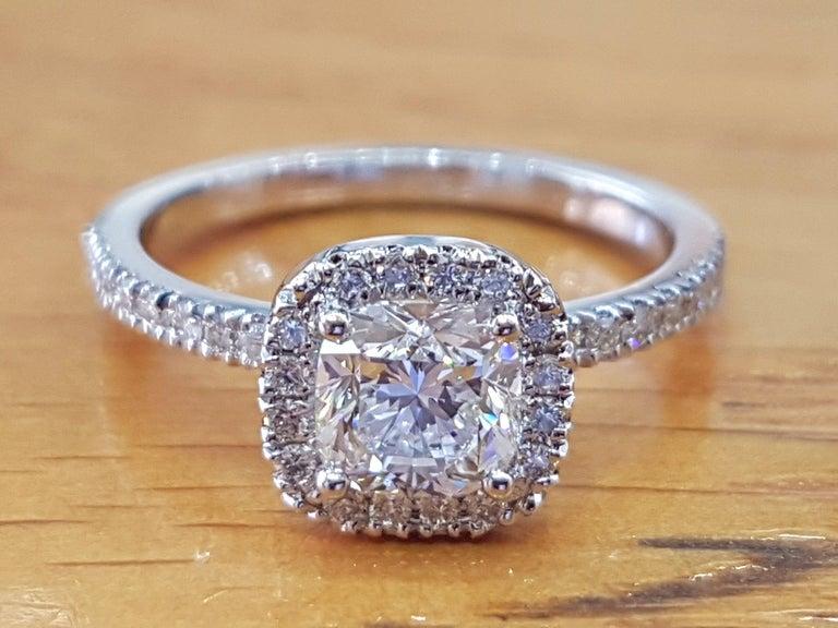 Cushion Cut 1 1/2 Carat 14 Karat White Gold Cushion Engagement Ring, Halo Diamond Ring For Sale