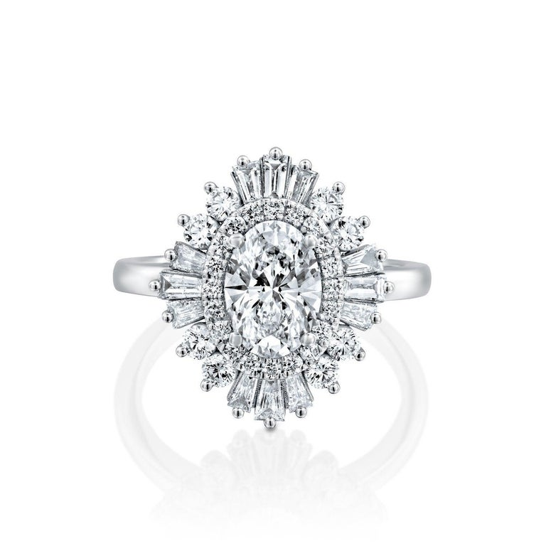 One of a kind 1.5 Carat Diamond Engagement Ring, Oval Cut Engagement Ring, Vintage Engagement Ring, Oval Cut Art Deco Ring. Center diamond is a beautiful 0.70ct H color SI1 Clarity Oval Cut Natural Certified Diamond surrounded by additional 0.80ctw
