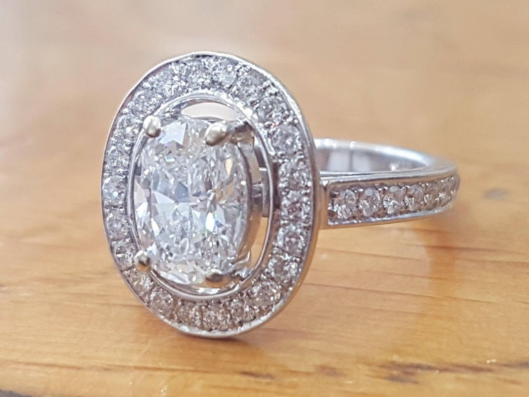 One of a kind 1.5 Carat Oval Diamond Engagement Ring, Oval Cut Engagement Ring, Vintage Engagement Ring, Oval Cut Art Deco Ring. Center diamond is a beautiful 1.00ct H color SI1 Clarity Oval Cut Natural Certified Diamond surrounded by additional