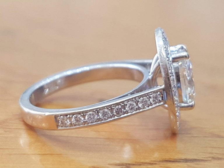 Art Deco 1 1/2 Carat 14 Karat White Gold Oval Engagement Ring, Oval Halo Ring For Sale