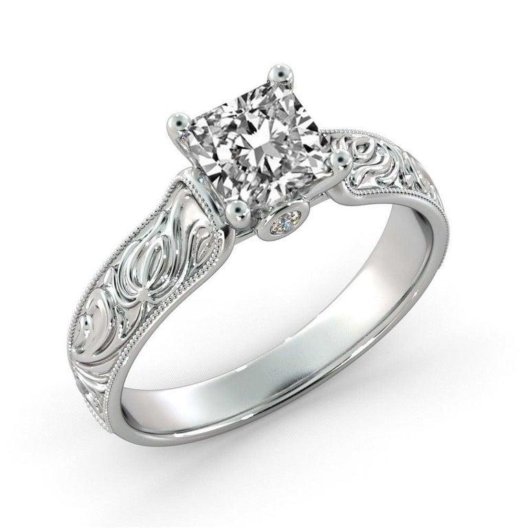 Art Deco 1 1/2 Carat 14 Karat White Gold Princess Diamond Ring, Vintage Style Amond