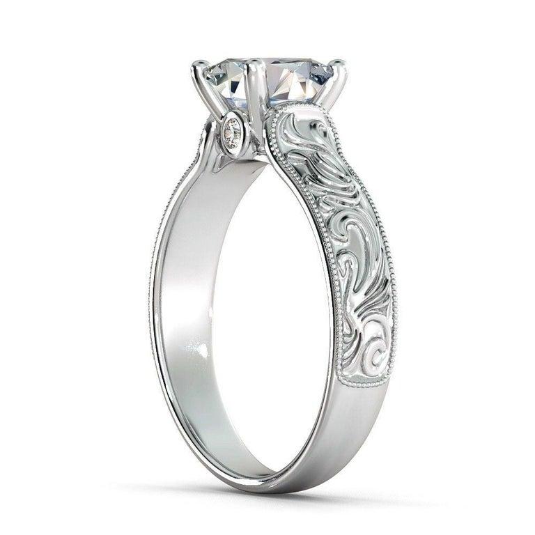 Princess Cut 1 1/2 Carat 14 Karat White Gold Princess Diamond Ring, Vintage Style Amond