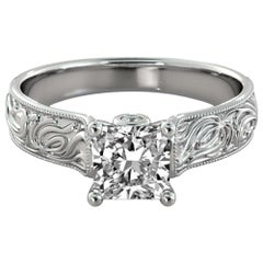 1 1/2 Carat 14 Karat White Gold Princess Diamond Ring, Vintage Style Amond