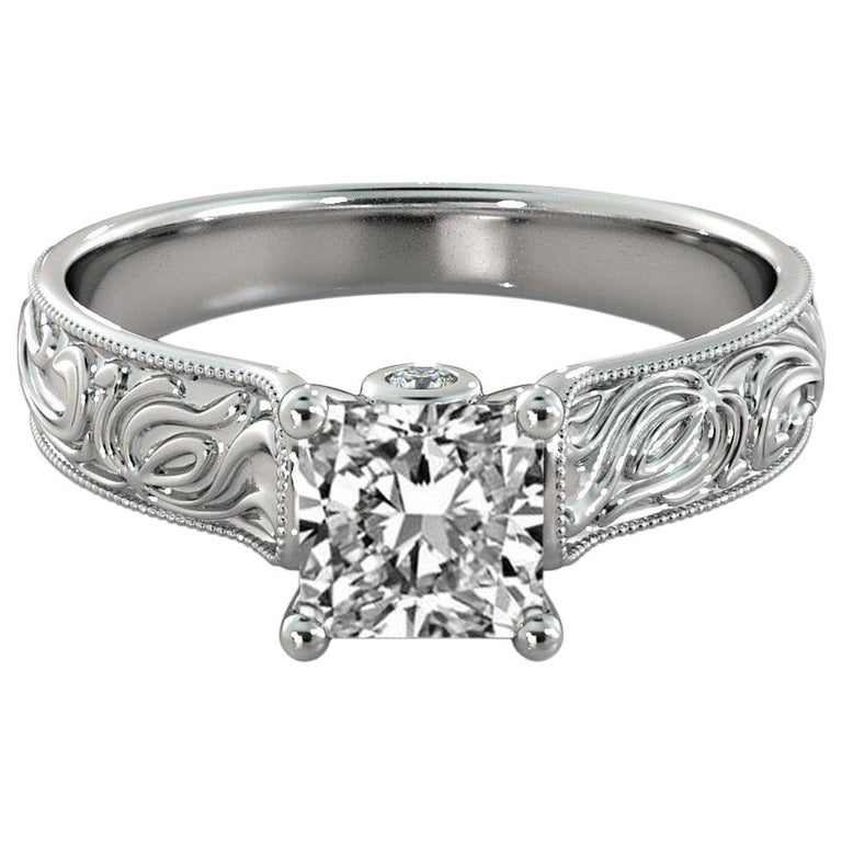 1 1/2 Carat 14 Karat White Gold Princess Diamond Ring, Vintage Style Amond