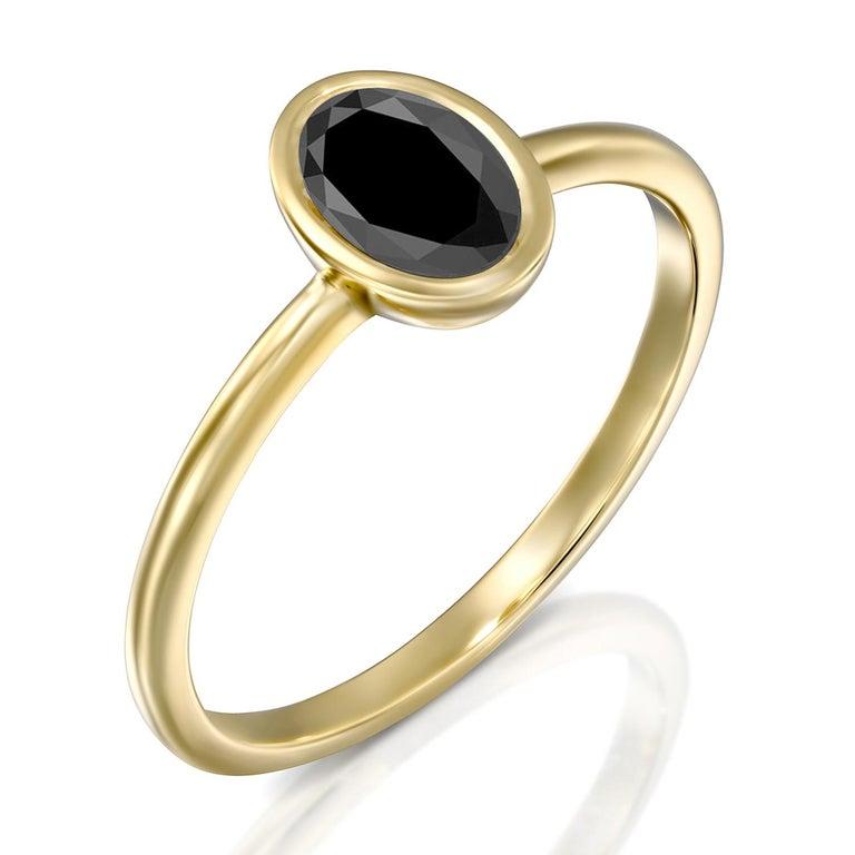 Art Deco 1 1/2 Carat 14 Karat Yellow Gold Certified Oval Black Diamond Engagement Ring For Sale