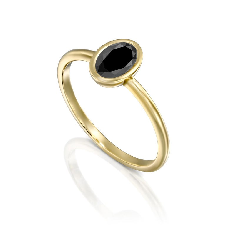 Oval Cut 1 1/2 Carat 14 Karat Yellow Gold Certified Oval Black Diamond Engagement Ring For Sale