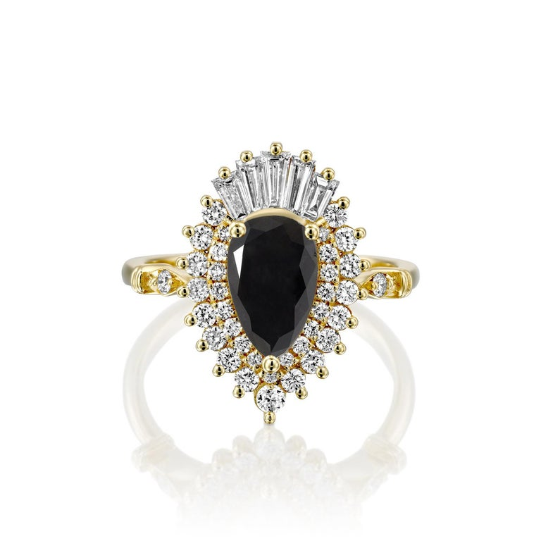 Beautiful solitaire with accents Victorian style diamond engagement ring. Center stone is natural, pear shaped, AAA quality Black Diamond of 3/4 carat and it is surrounded by smaller natural diamonds approx. 0.75 total carat weight. The total carat