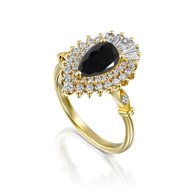 Art Deco 1 1/2 Carat 14 Karat Yellow Gold Certified Pear Black Diamond Engagement Ring For Sale