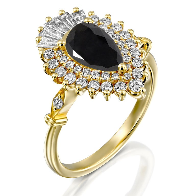 Pear Cut 1 1/2 Carat 14 Karat Yellow Gold Certified Pear Black Diamond Engagement Ring For Sale