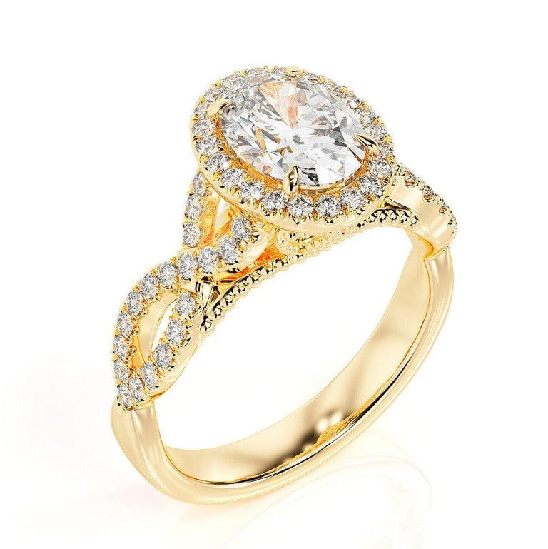 Oval Cut 1 1/2 Carat 14 Karat Yellow Gold Oval Engagement Ring Set, Oval Halo Ring For Sale