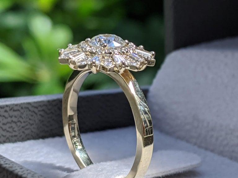 1 1/2 Carat Vintage Diamond Ring, Gatsby Halo Engagement Ring, Round Engagement Ring, Victorian Engagement Ring, Ballerina Art Deco Ring    Main Stone Name: Natural Earth Mined Diamond   Main Stone Weight: 0.70 ct.  Main Stone Clarity: SI1  Main