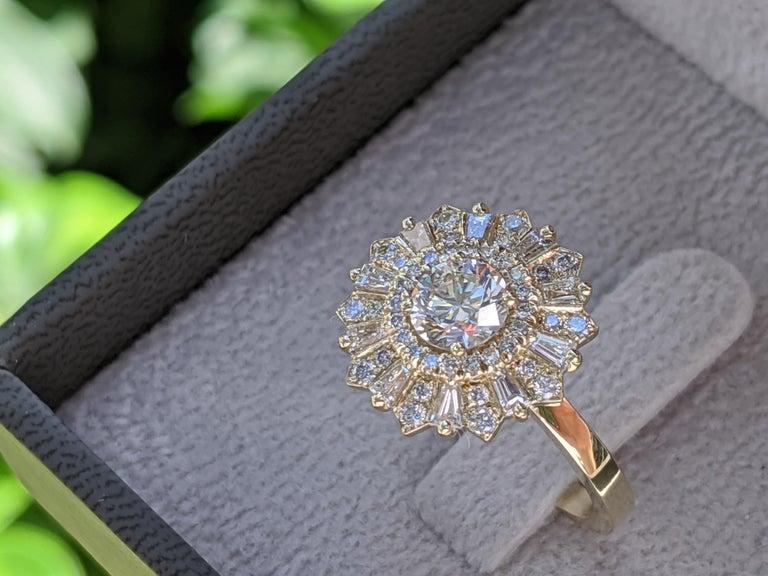 Art Deco 1 1/2 Carat 14 Karat Yellow Gold Vintage Round Diamond Ring, Gatsby Halo Ring For Sale