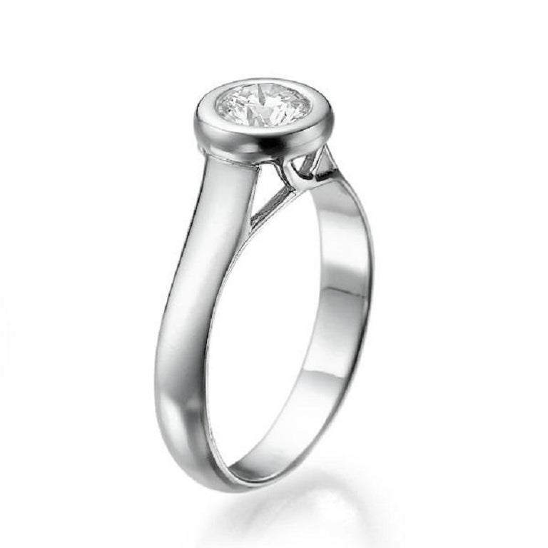 Bezel Set Diamond Ring, Platinum Diamond Engagement Ring, Solitaire Diamond Ring, White Gold Promise Ring, Platinum Diamond Ring    Center Stone - Natural Diamond  Carat Weight: 0.50 Carat  Color: G  Clarity: SI1       Currently a US ring size 5.5