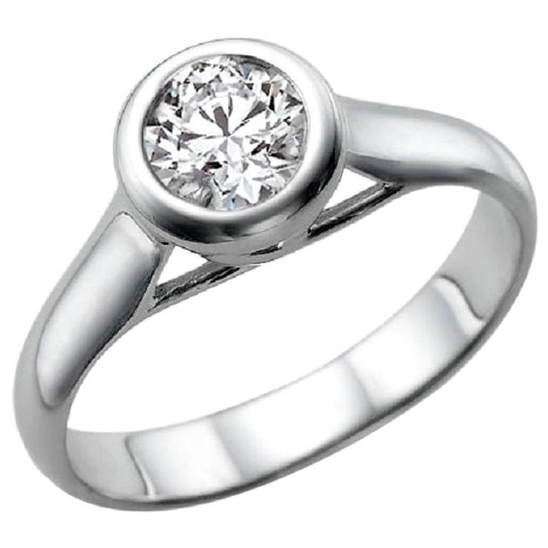 1/2 Carat Bezel Set Diamond Ring, Platinum Diamond Engagement Ring For Sale
