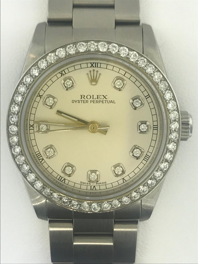 Round Cut 1 1/2 Carat Diamond Bezel-Rolex Oyster Perpetual Stainless Steel Ladies Watch For Sale