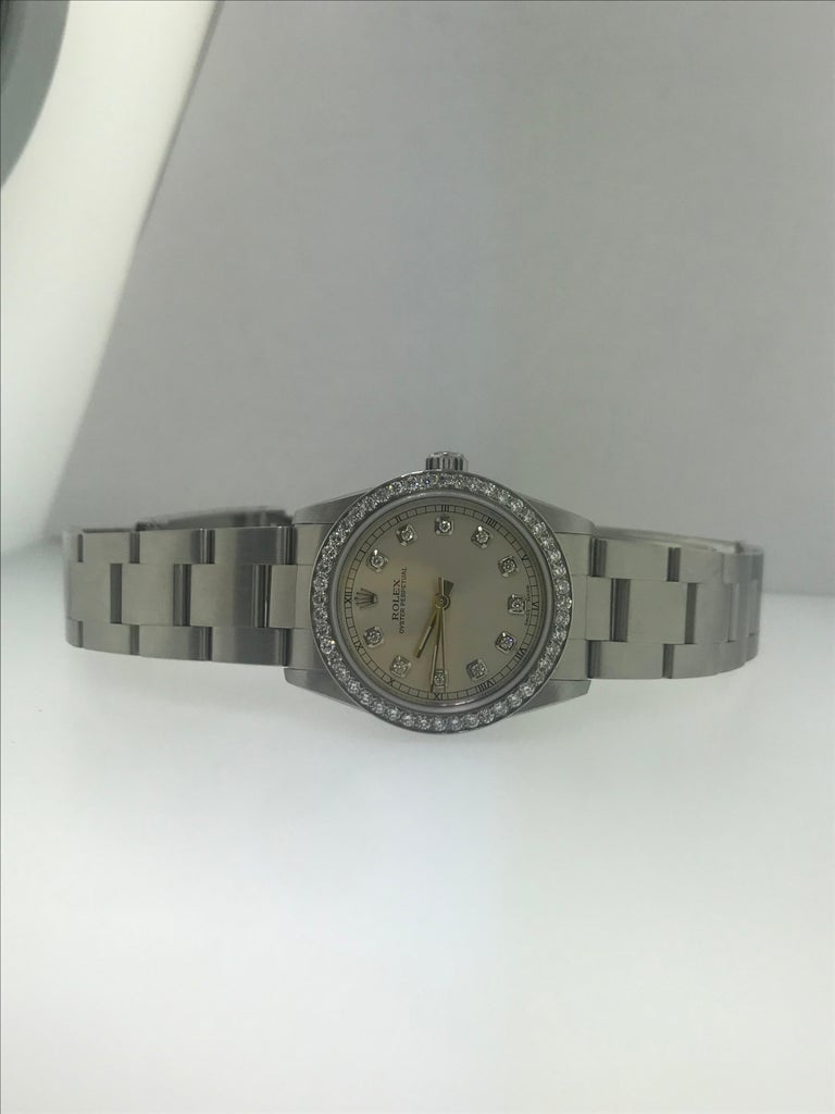 1 1/2 Carat Diamond Bezel-Rolex Oyster Perpetual Stainless Steel Ladies Watch In Excellent Condition For Sale In Austin, TX