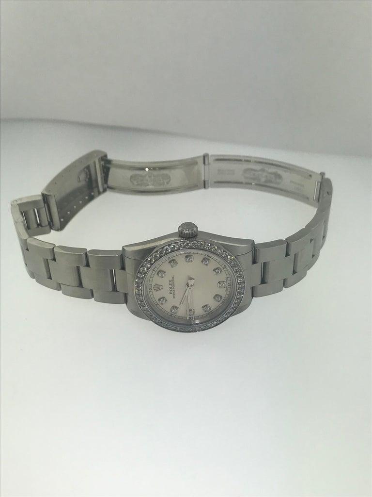 Women's 1 1/2 Carat Diamond Bezel-Rolex Oyster Perpetual Stainless Steel Ladies Watch For Sale