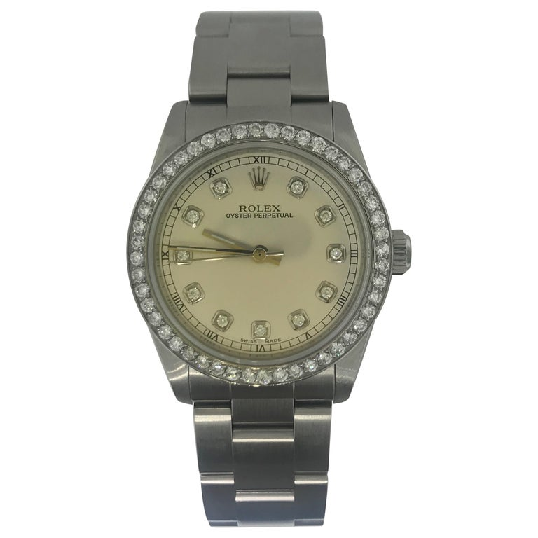 1 1/2 Carat Diamond Bezel-Rolex Oyster Perpetual Stainless Steel Ladies Watch For Sale