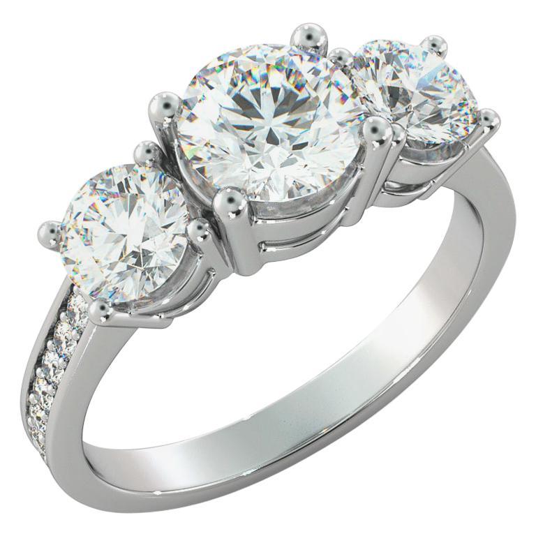 1 1/2 Carat GIA Engagement Ring, 3-Stone Round Cut Diamond Ring