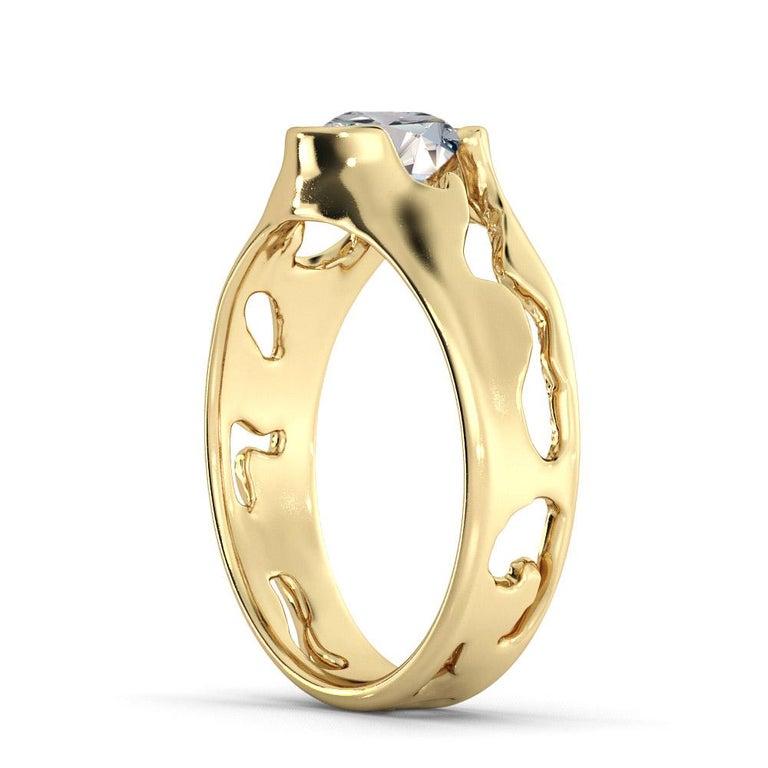 Art Deco 1 1/2 Carat GIA Round Diamond Ring, Solitaire Bezel 18 Karat Yellow Gold For Sale