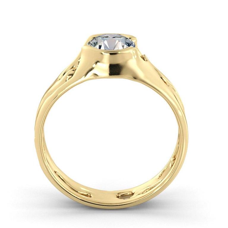 Round Cut 1 1/2 Carat GIA Round Diamond Ring, Solitaire Bezel 18 Karat Yellow Gold For Sale