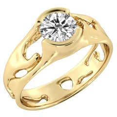1 1/2 Carat GIA Round Diamond Ring, Solitaire Bezel 18 Karat Yellow Gold
